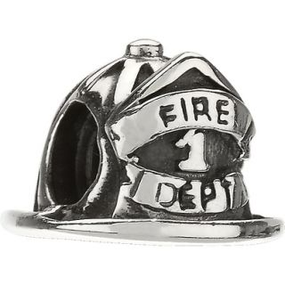 Authentic Chamilia Firefighter Helmet Hat Sterling Silver Charm Bead