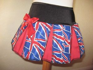 Girls Black Blue Red White Union Jack Cheerleader Skirt