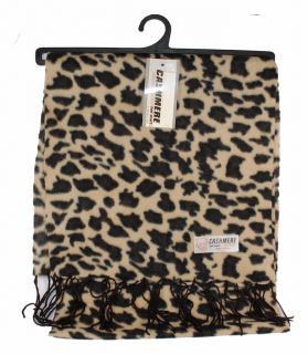 Womens Leopard Print Cashmere Feel Scarf Tan 119