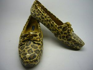 New Sperry Topsider Skiff Leopard Print Fabric with Clear Sequin