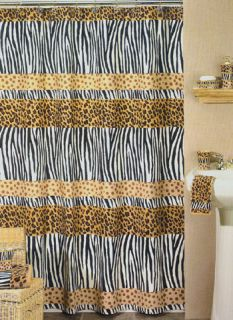 Funky Animal Print Leopard Cheetah Zebra Shower Curtain