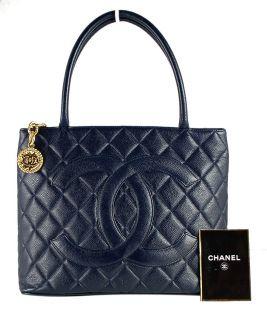 CHANEL Dark Navy Blue Caviar Leather Gold Medallion Tote Handbag
