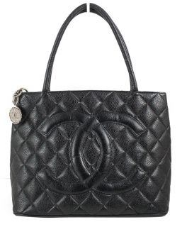 CHANEL Black Quilted Caviar Leather Silver Medallion Tote Handbag