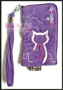Purple Mobile Cell Phone iPhone Case Pouch ANIMOB Embroider