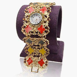 Enamel Ladies Crystal 18K Gold Plated GP Charm Bangle Watch A1979K