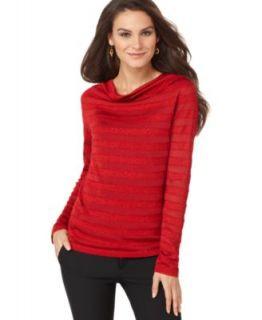 Jones New York New Red Long Sleeve Drape Neck Striped Pullover Sweater