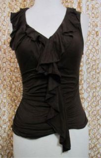 Diane Von Furstenberg Womens Sleeveless Sheer Ruffled Brown Blouse