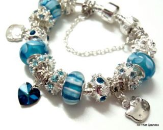 Blue Hello Kitty Child Girl Heart Charm Bead Bracelet
