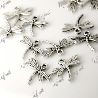 Silver Antique Cute Dragonfly Charms Pendants 15x18 TS0012