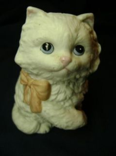 Homco 1428 Persian Long Hair White Ceramic Cat Pink Bow