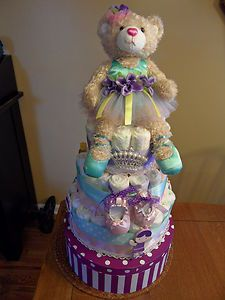 Diaper Cake Awesome Baby Shower Centerpiece with Gift Box