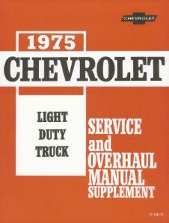 Chevrolet 1975 Truck Shop Manual 75 Chevy Pickup Van