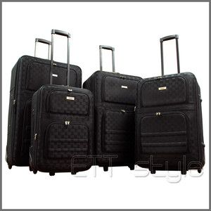 PIECES EXPANDABLE BLACK CHECKER ROLLING LUGGAGE SET SUITCASE CARRY