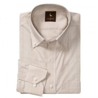 Tailorbyrd Multi Check Sport Shirt 100% Cotton   Long Sleeve   Khaki