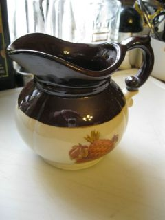 McCoy Ceramic Pitcher Classic Brown White with Beautiful Fruit Design