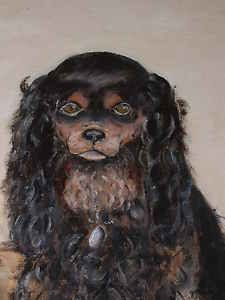 Very Large Antique King Charles Spaniel Dog Oil Painting Approx 31 x