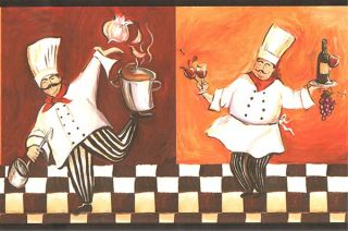 Italian Fat Chef Wallpaper Border WT1086B Cafe Kitchen Fat Chef Decor