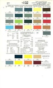 1977 Chevy Camaro Chevelle Corvette Paint Color CHART77 PPG Monte