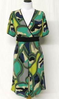 NEW Chelsea & Theodore Size S Slinky Stretch Knit GREEN Black DRESS