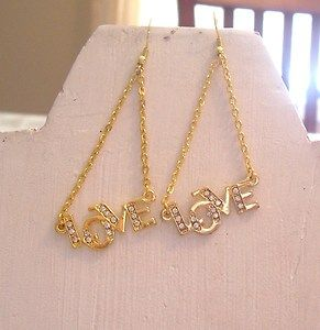 Gold Color Chain Dangle Earring Crystal Stone Love Drop