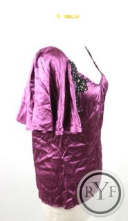 New Gorgeous Chelsea Flower Pink Black Silk Rhinestone Detail Blouse