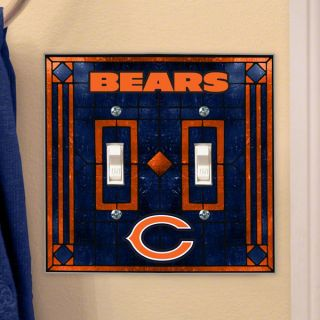chicago bears light switch cover double glass