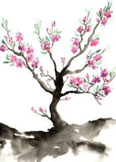 Original Sakura Cherry Blossom Tree Sumi E Japanese Brush Painting