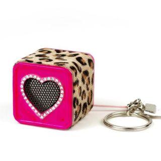 Keychain Speaker Leopard Swarovski Crystal Heart Chicbuds Pink OR Blue