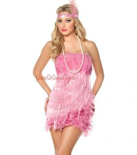 Flamingo Flapper Fancy Burlesque Costume Feathers Fringe Fredericks of
