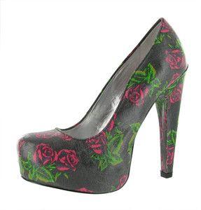 Betsey Johnson Meeeva Womens Pumps Dress Shoes Floral Print Black