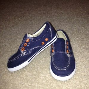 Cherokee Toddler Boys Navy Blue Orange Zander Canvas Shoes Sneakers