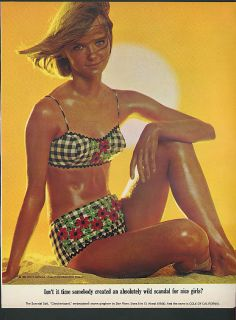 Nice Girls Cole of California Swimsuits Ad 1965 Cheryl Tiegs