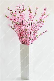 Pink Cherry Plum Spring Peach Blossom Spray Branch Silk Flower