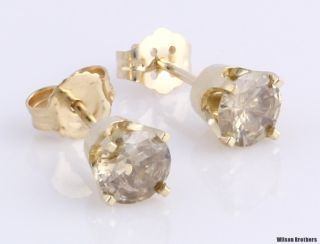 18ctw Genuine Champagne Diamond Stud Earring Set 14k Solid Gold I2 M