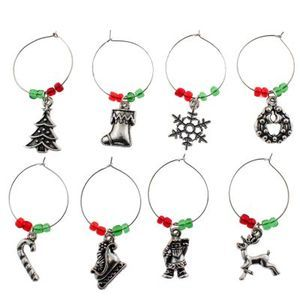 Wine Glass Charms Party Ring Hoops Christmas Xmas Themes Santa