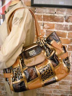 WOW Sharif Brown Leopard Croc Patchwork Handbag New