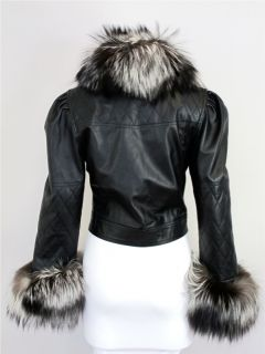 Chester Fox Fur Jacket Black Leather at Socialite Auctions 37 466