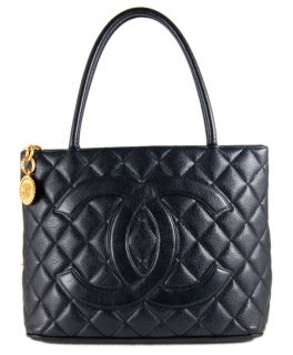 authentic chanel black caviar leather gold medallion tote handbag