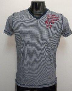 Original Chevignon 57 Legend Label V Neck Cotton T Shirt Blue M