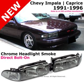 Chevy Impala Caprice 91 96 Chrome Smoke Housing Headlight Corner