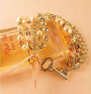 Rhinestone Pearl Gold Plated Multi Strands Chain Key Charms Bracelet