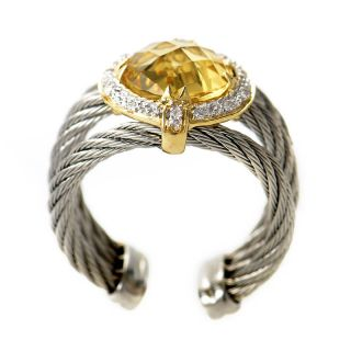 Charriol Stainless Steel 18K Yellow Gold Celtic Cable Ring with Yellow