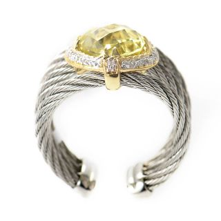 Charriol Stainless Steel 18K Yellow Gold Celtic Cable Ring with Lemon