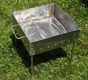 Charcoal 14x14 Custom Stainless Steel Portable Shish Kebab Shashlik