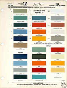 1962 Chevrolet Dodge Truck Paint Color Chart PPG 62