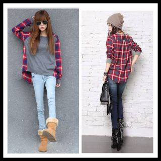 Women Long Sleeve Crew Neck Plaid Checks Print Casual Loose Top T