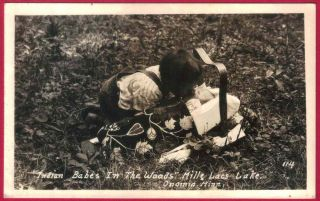 RPPC CHIPPEWA Indian Baby Papoose Child Beaded Blanket Onamia MN Mille