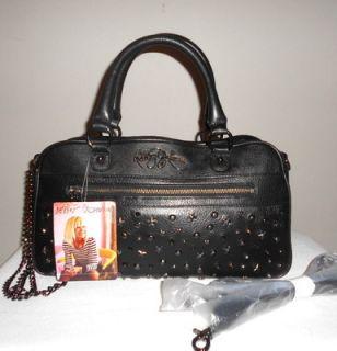 Betsey Johnson Handbag Black Leather Super Star Stud Satchel Cross