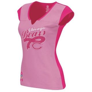 Womens Chicago Bears Breast Cancer Awareness Ribbon Shirt s M L XL
