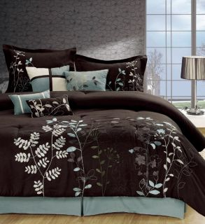 8PC Chocolate Brown Blue Leaf Print Comforter Set Queen